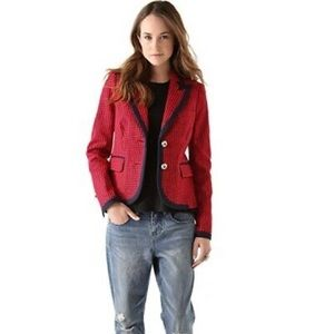 Juicy Couture Prep Jacket in Red Navy Houndtooth